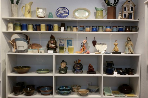 ashland art center with pottery, art, sculptures