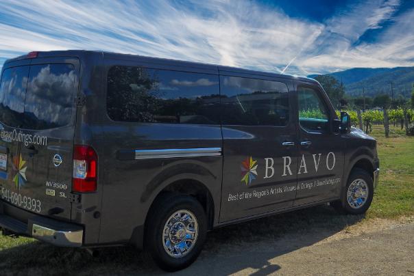 van from bravo tours in vineyard