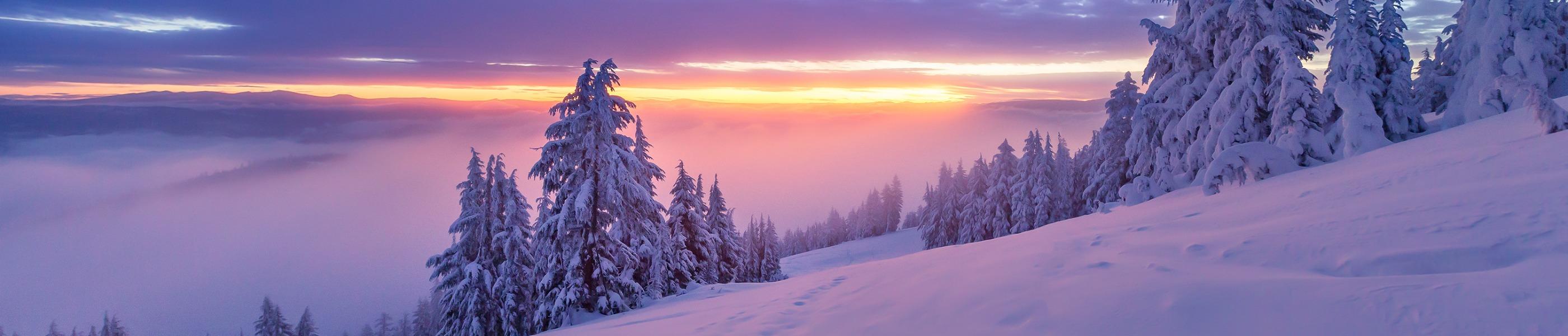 A sunrise over snowy Mt. Ashland