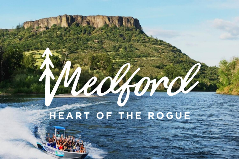 Medford jetboats, medford heart of the rogue, logo