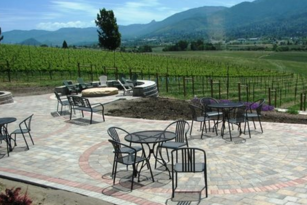 dana cambell patio seating and vineyard