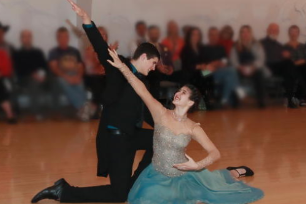 Male and female dancer at the evergreen ballroom in medford oregon