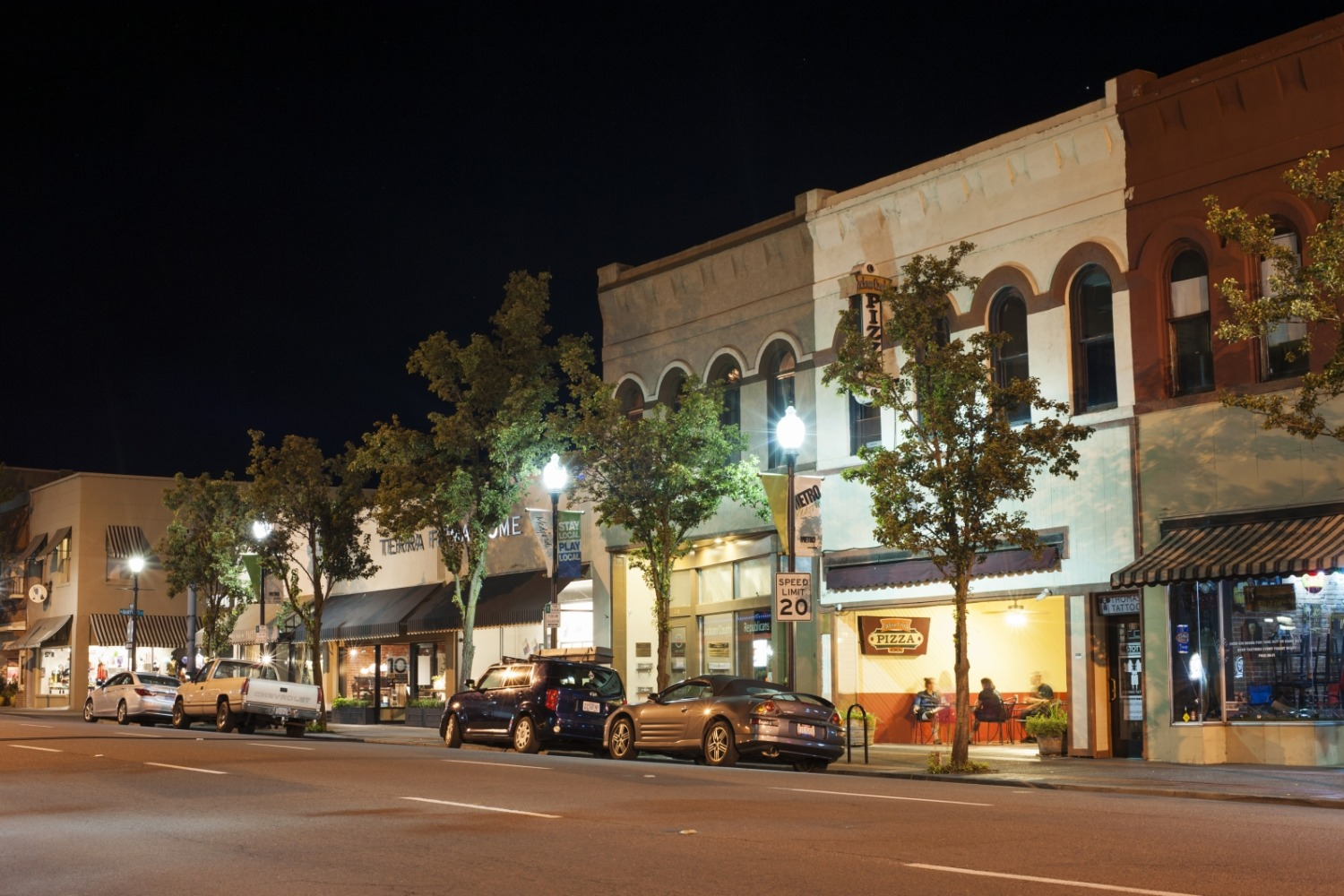 Downtown Medford at night