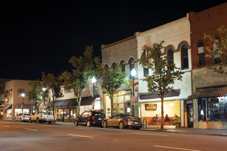 Downtown Medford at night