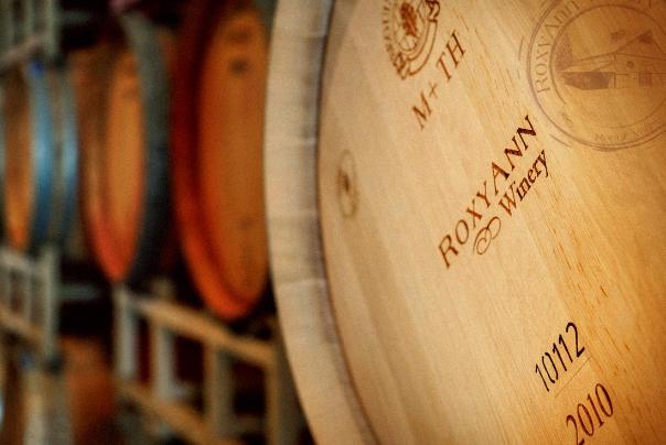 RoxyAnn Winery in Medford, wine, barrels