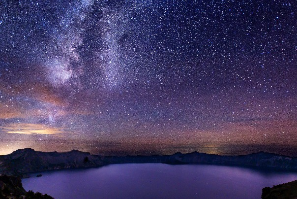 A starry night at Crater Lake National Park