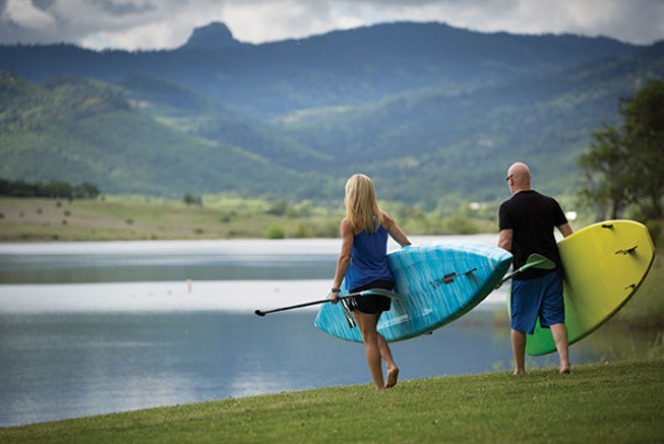Paddle boarding at Emigrant Lake
